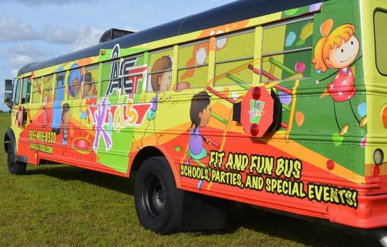 Florida Woman Converts School Bus Into Mobile Gym For Kids